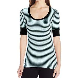 Three Dots Women's 3/4 Sleeve Stripe Top Lg NWT